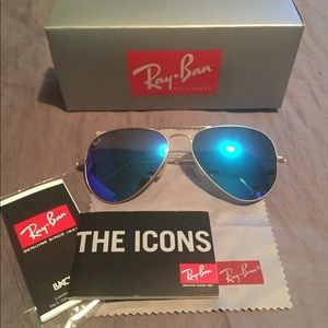Authentic Blue Mirrored Rayban aviators 58mm